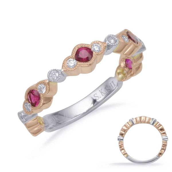 Rose and White Gold Ruby and Diamond Band Mystique Jewelers Alexandria, VA