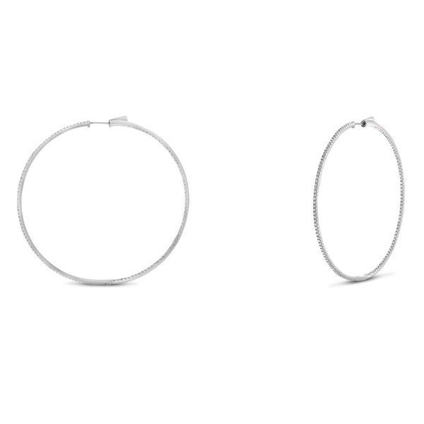 White Diamond Earrings on 2-Inch Round Hoops Mystique Jewelers Alexandria, VA