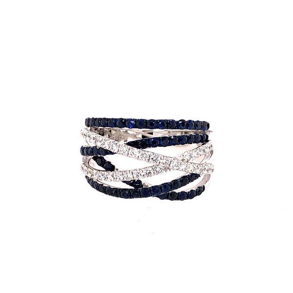 18K DIAMOND/BLUE SAPPHIRE CROSS OVER RING Mystique Jewelers Alexandria, VA