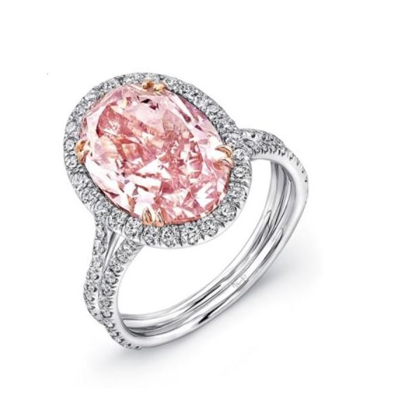 Oval Pink Diamond Halo Engagement Ring Mystique Jewelers Alexandria, VA