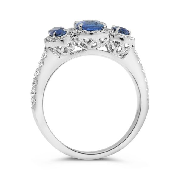 Three Stone Sapphire and Diamond Halo Ring  Image 2 Mystique Jewelers Alexandria, VA