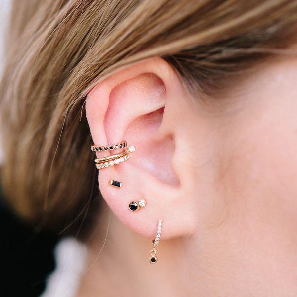 14K Bezel Black Diamond Ear Cuff Image 2 Mystique Jewelers Alexandria, VA