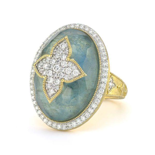 Large Pave Quatrefoil Oval Stone Ring Mystique Jewelers Alexandria, VA