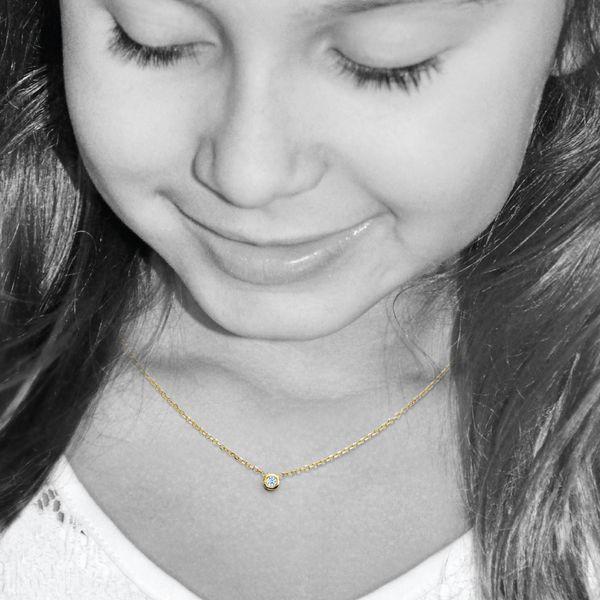 Single Diamond Bezel Necklace Mystique Jewelers Alexandria, VA