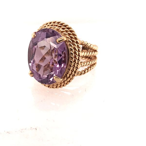 Amethyst Twisted Detail Gold Ring Image 2 Mystique Jewelers Alexandria, VA