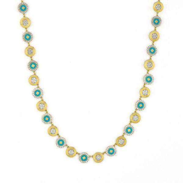 Lisse Alternating Ceramic And Pave Disc Necklace Mystique Jewelers Alexandria, VA