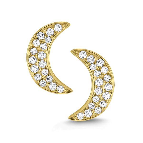 Diamond Crescent Moon Stud Earrings Set in 14 Kt. Gold Mystique Jewelers Alexandria, VA