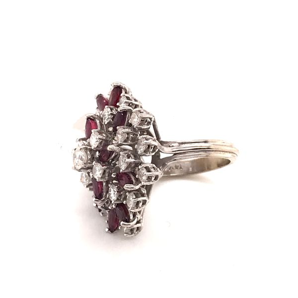 Ruby & Diamond Cluster Ring Image 2 Mystique Jewelers Alexandria, VA