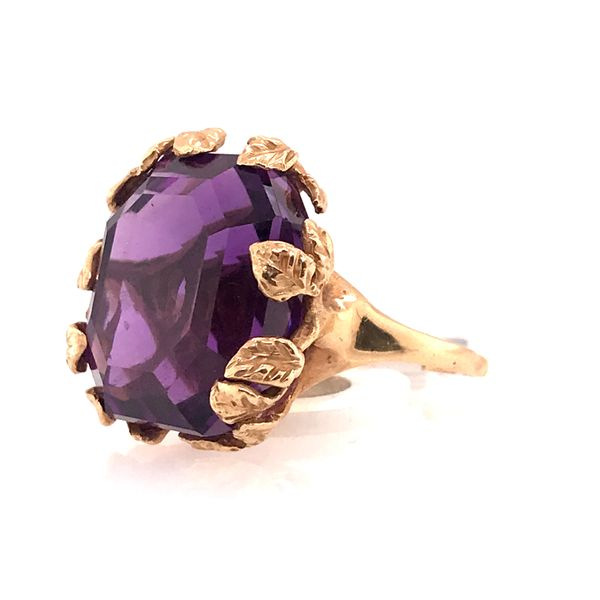 Amethyst Leaf Detail Gold Ring Image 2 Mystique Jewelers Alexandria, VA