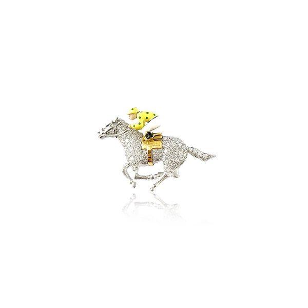 18K Yellow Gold and Platinum Diamond Jockey Pin Mystique Jewelers Alexandria, VA