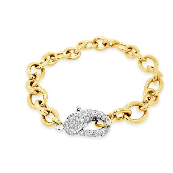 18K Gold Link Bracelet Diamond Pave Clasp Mystique Jewelers Alexandria, VA