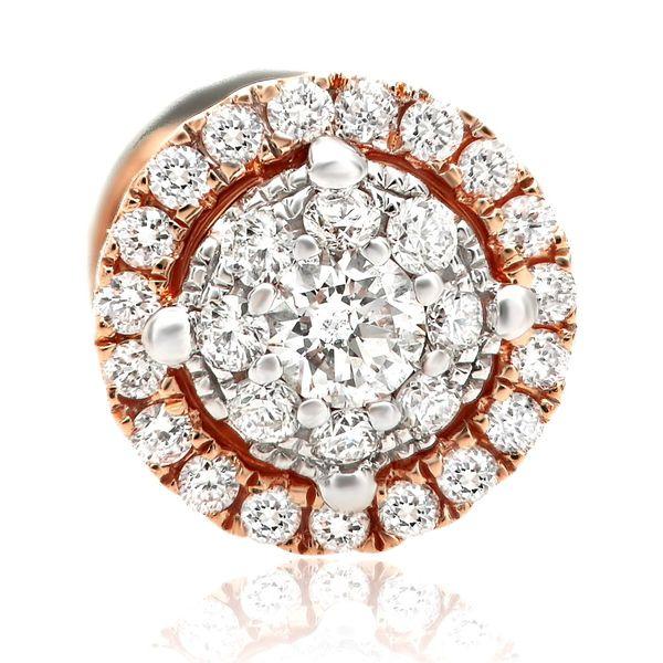 Two Tone Round Diamond Stud Earrings Image 2 Mystique Jewelers Alexandria, VA