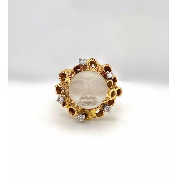 Moonface Moonstone Ring with Diamonds Mystique Jewelers Alexandria, VA