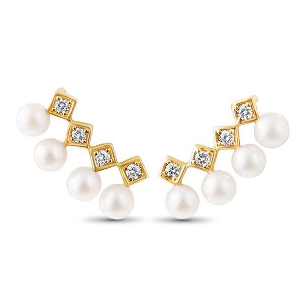 Diana Pearl and Diamond Ear Climbers Mystique Jewelers Alexandria, VA