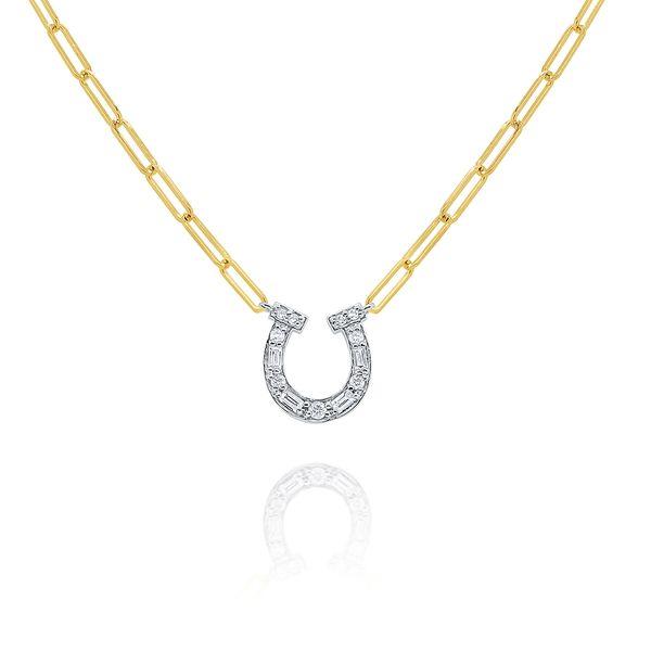 Gold and Diamond Horseshoe on Paperclip Chain Mystique Jewelers Alexandria, VA