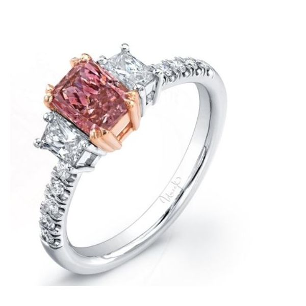 Three-Stone Intense Pink Center Stone Engagement Ring Mystique Jewelers Alexandria, VA