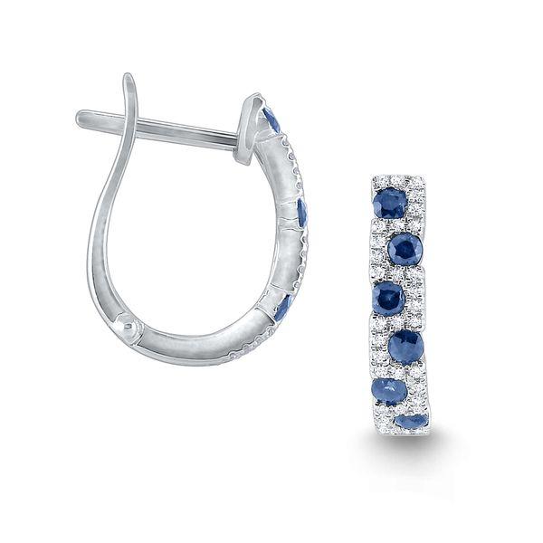 Diamond and Blue Sapphire Hoop Earrings Mystique Jewelers Alexandria, VA