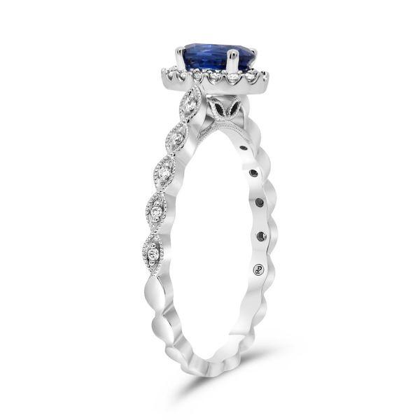 Milgrain Leaf Design Sapphire Ring Image 3 Mystique Jewelers Alexandria, VA