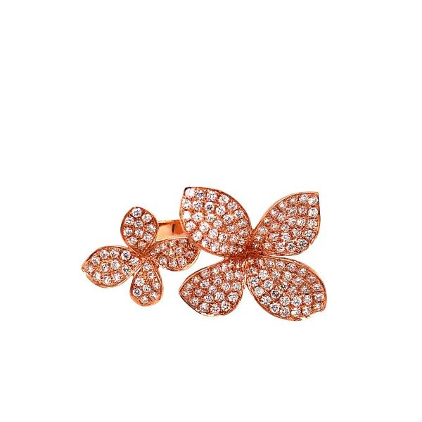 Rose Gold and Pave Diamond Double Flower Ring Mystique Jewelers Alexandria, VA