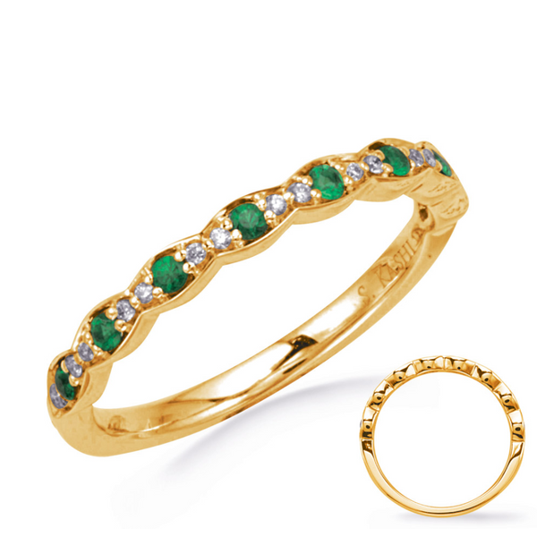 Diamond and Emerald Yellow Gold Band Mystique Jewelers Alexandria, VA