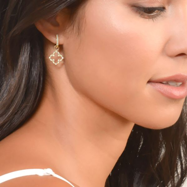 Pave Open Clover Marquis Earring Charms Image 2 Mystique Jewelers Alexandria, VA