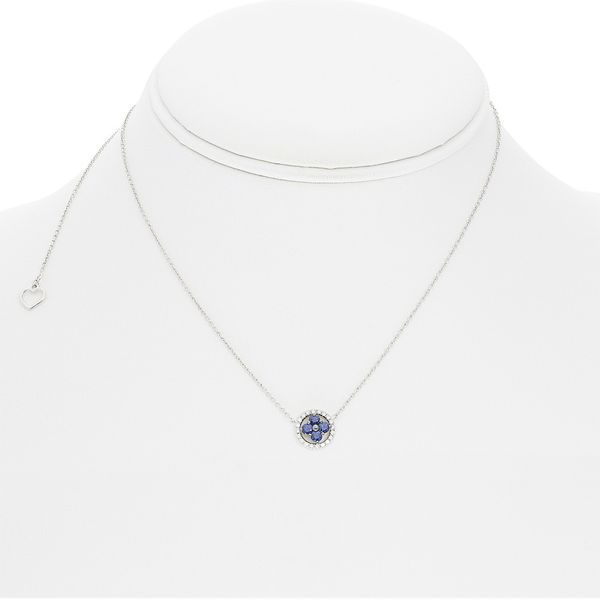 Sapphire & Diamond Cluster Necklace Image 3 Mystique Jewelers Alexandria, VA