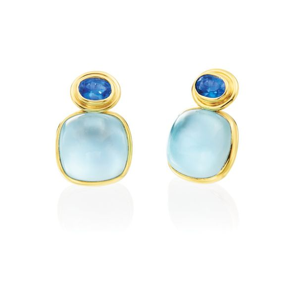 Mazza Kyanite & Blue Topaz 14K Gold Earrings Mystique Jewelers Alexandria, VA