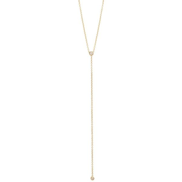14K BEZEL DIAMOND LARIAT NECKLACE Mystique Jewelers Alexandria, VA