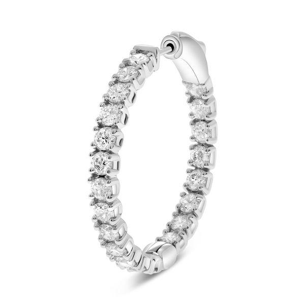 4 carat Diamond Inside Out Hoop Earrings in White Gold Image 3 Mystique Jewelers Alexandria, VA