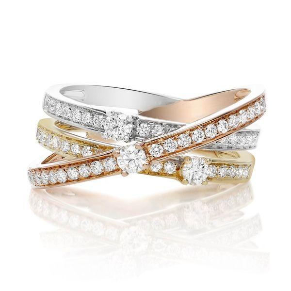 Tricolored Overlapping Diamond Ring Mystique Jewelers Alexandria, VA