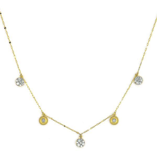 Petite Dancing Pave Diamond Circle & Brushed Cir Necklace Mystique Jewelers Alexandria, VA