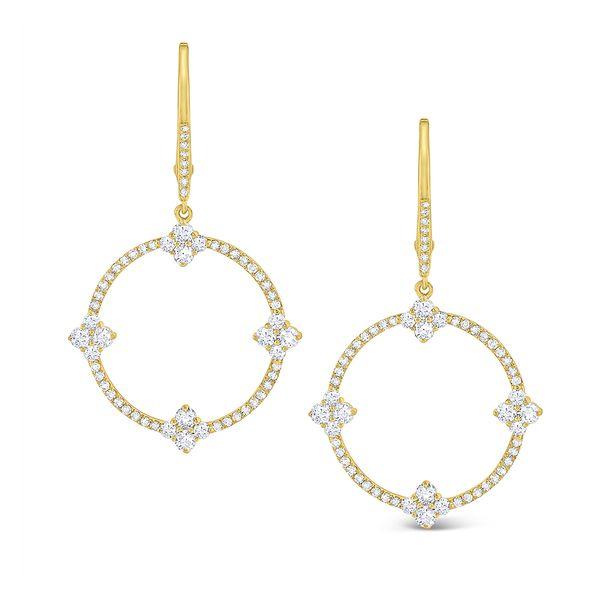 Diamond Circular Frame Earrings Set in 14 Kt. Gold Mystique Jewelers Alexandria, VA