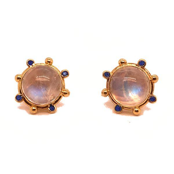 Moonstone and Sapphire Post Earrings Mystique Jewelers Alexandria, VA