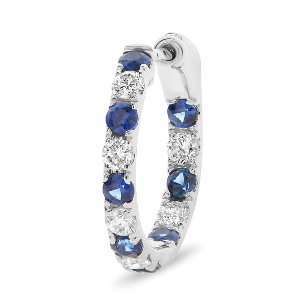 Inside-out Diamond and Sapphire Half-Inch Hoops Image 2 Mystique Jewelers Alexandria, VA