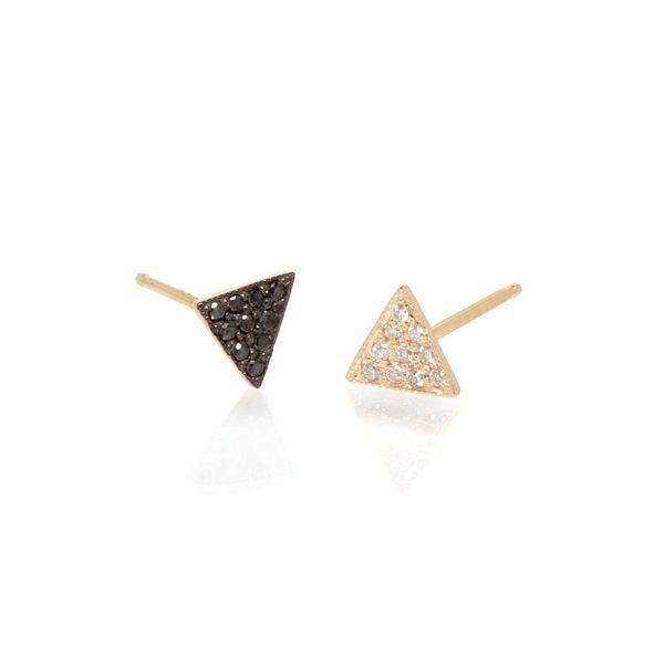 14k pave mix matched triangle studs Mystique Jewelers Alexandria, VA