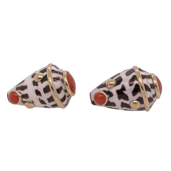 Mazza Coral & Hebrew Shell 14K Gold Earrings Mystique Jewelers Alexandria, VA