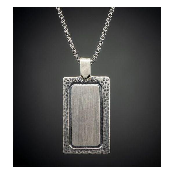 Meteorite inlaid dog tag necklace Image 3 Mystique Jewelers Alexandria, VA