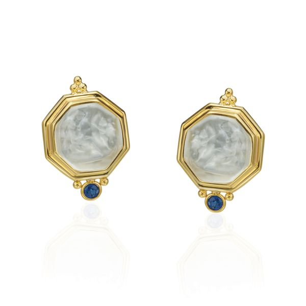 14K Yellow Gold and Mother of Pearl Earrings Mystique Jewelers Alexandria, VA