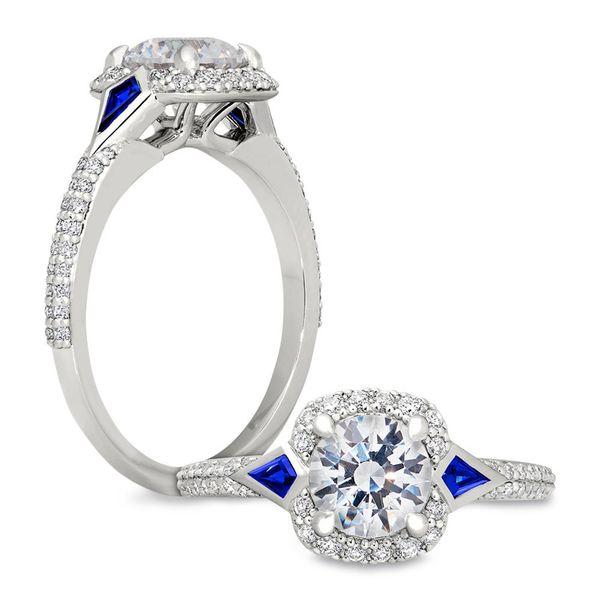 Diamond Engagement Ring with Sapphire Kites Mystique Jewelers Alexandria, VA