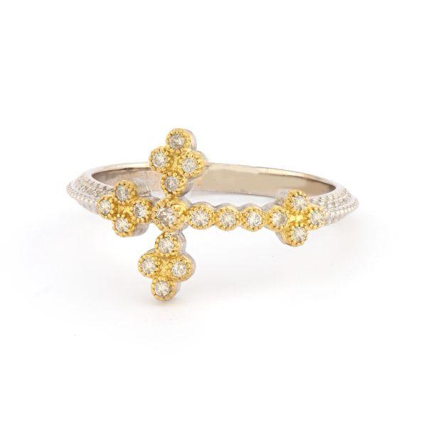 Mixed Metal Woven Rope Cross Ring with White Diamonds Mystique Jewelers Alexandria, VA