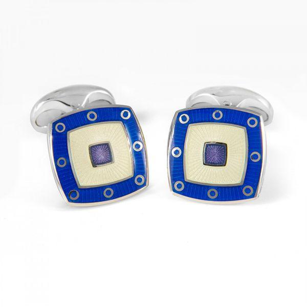Sterling Silver Clear Enamel Cufflinks With Blue Spot Border Mystique Jewelers Alexandria, VA