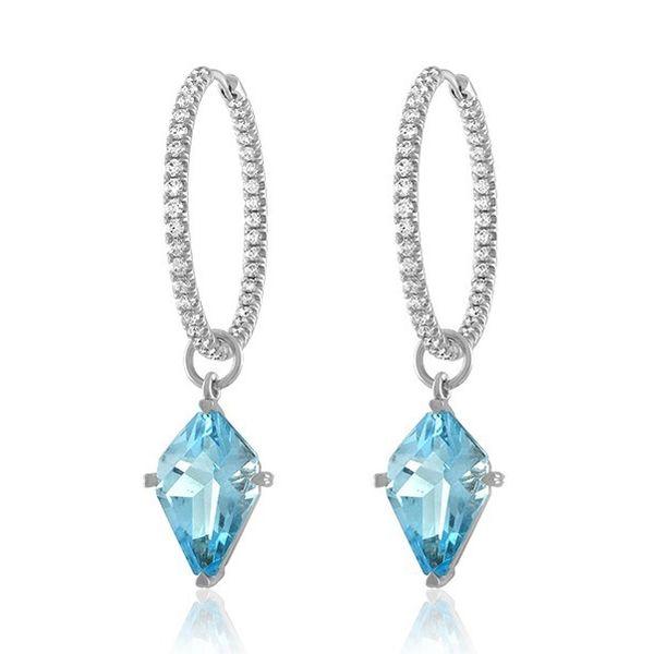 18K White Gold Diamond Inside Outside Hoops with Sky Blue Topaz Kite Shaped Detachable Drops Mystique Jewelers Alexandria, VA