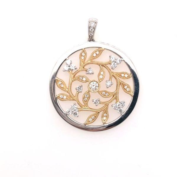 14kt Two Tone Diamond Circle Pendant  Mystique Jewelers Alexandria, VA