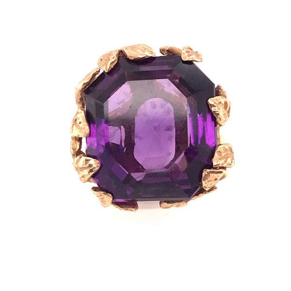 Amethyst Leaf Detail Gold Ring Mystique Jewelers Alexandria, VA