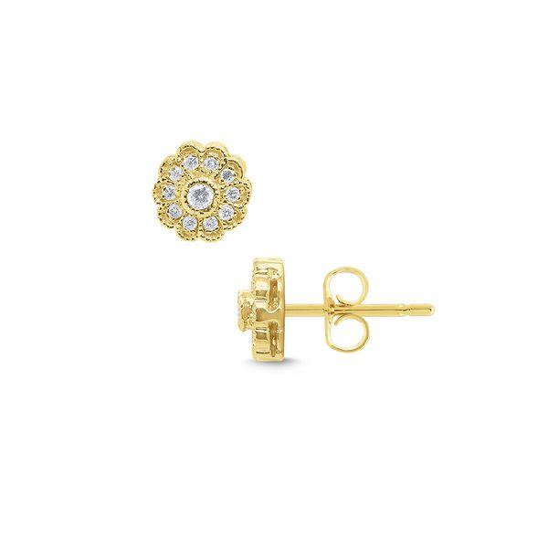 Gold and Diamond Flower Stud Earrings Mystique Jewelers Alexandria, VA