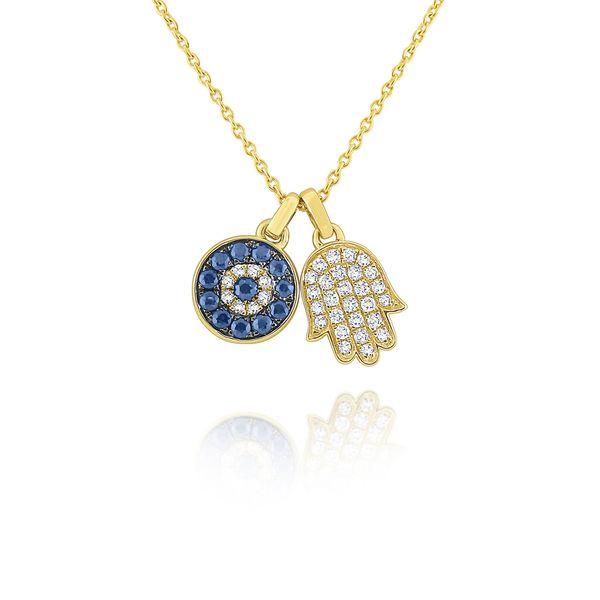 14k Blue Sapphire and Diamond Evil Eye and Hamsa Necklace Mystique Jewelers Alexandria, VA