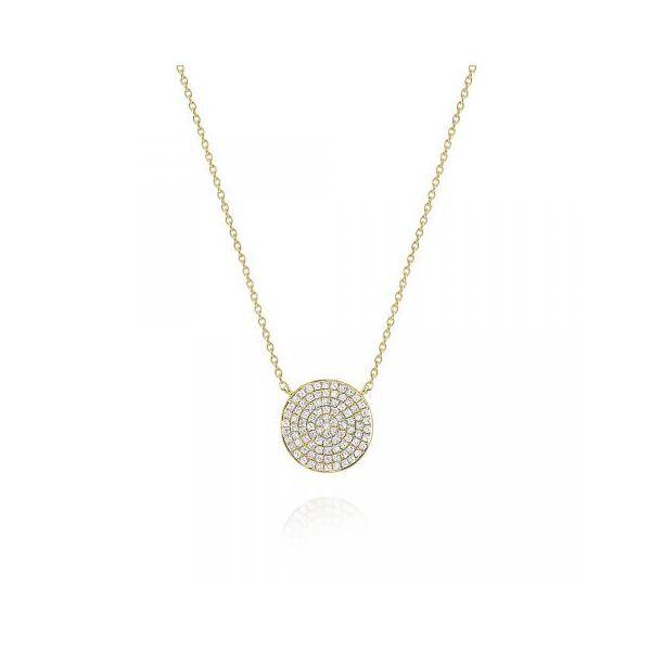 Round Diamond Pavé Disc Pendant Necklace Set in 14 Kt. Gold Mystique Jewelers Alexandria, VA