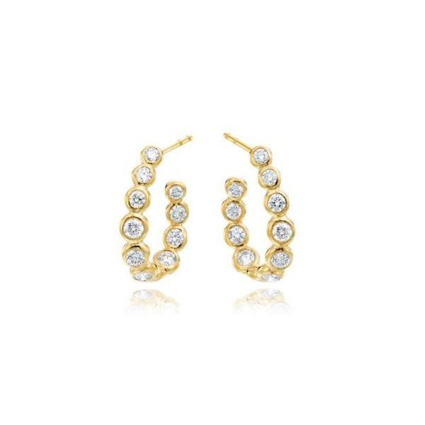 GUMUCHIAN MOONLIGHT 18K GOLD C-CURVED HOOP EARRINGS Mystique Jewelers Alexandria, VA