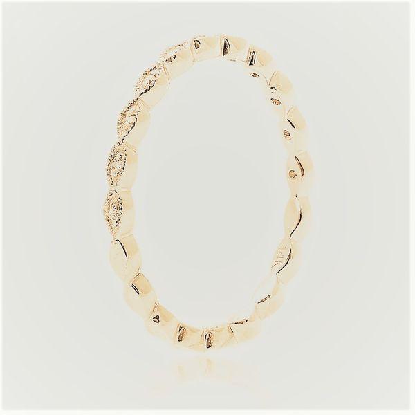 Milgrain Leaf Gold Diamond Band Image 2 Mystique Jewelers Alexandria, VA