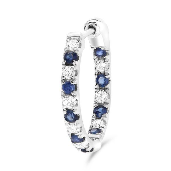 Diamond and Sapphire Half-Inch Hoop Earrings Image 3 Mystique Jewelers Alexandria, VA